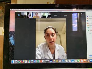 Doctor speaking on zoom