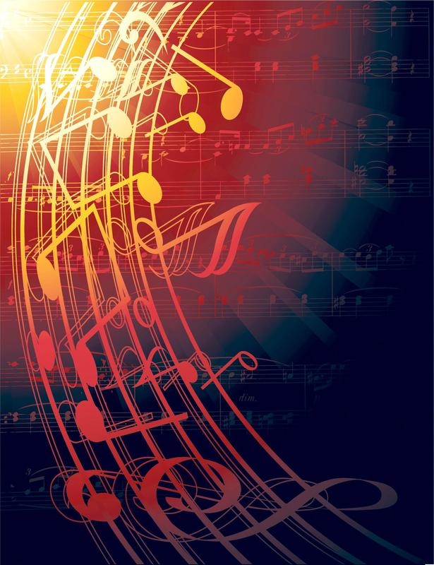 Design concept filled with music notes and bars in shades of yellow and maroon