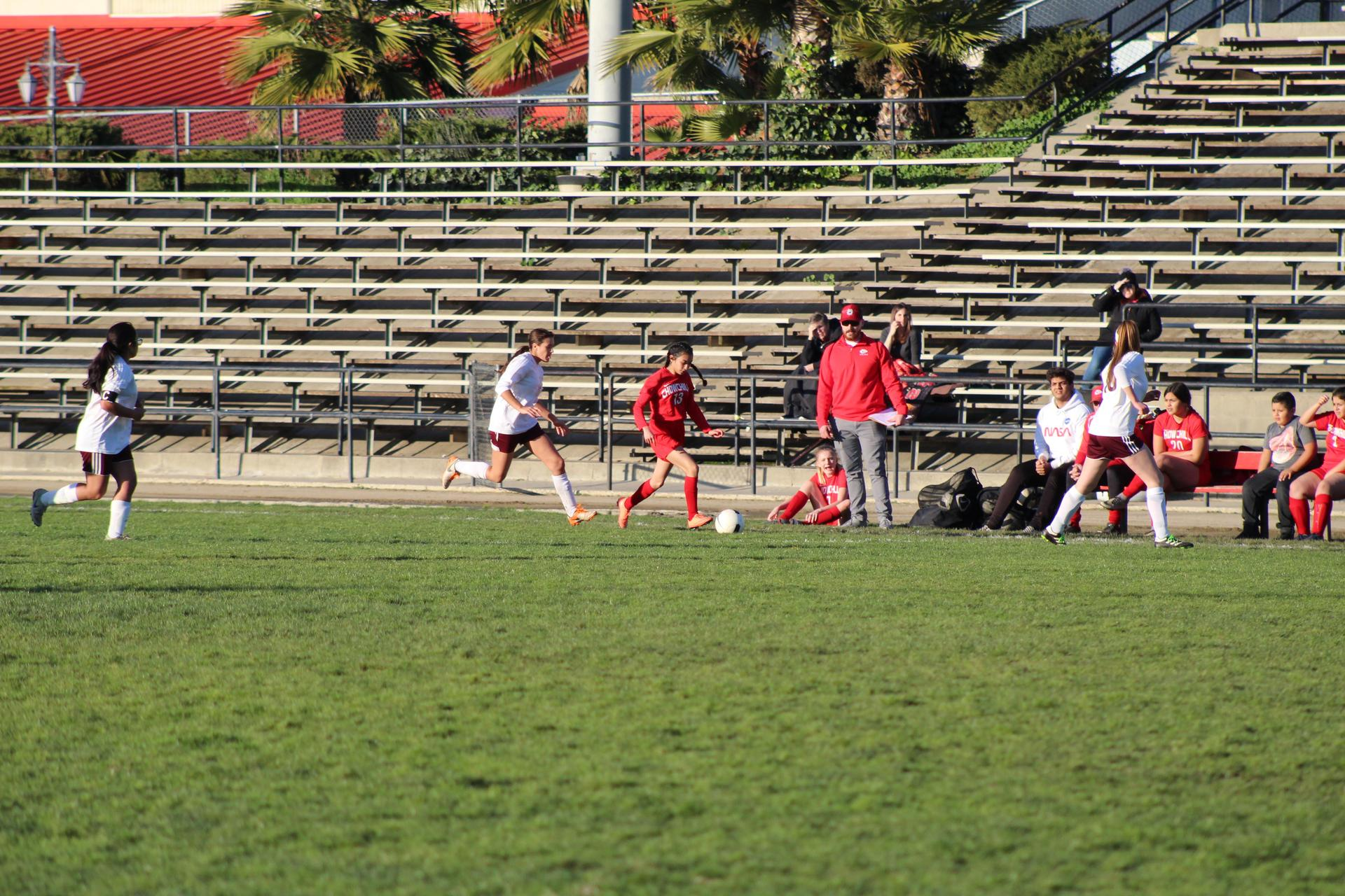 JV Girls playing soccer against Sierra