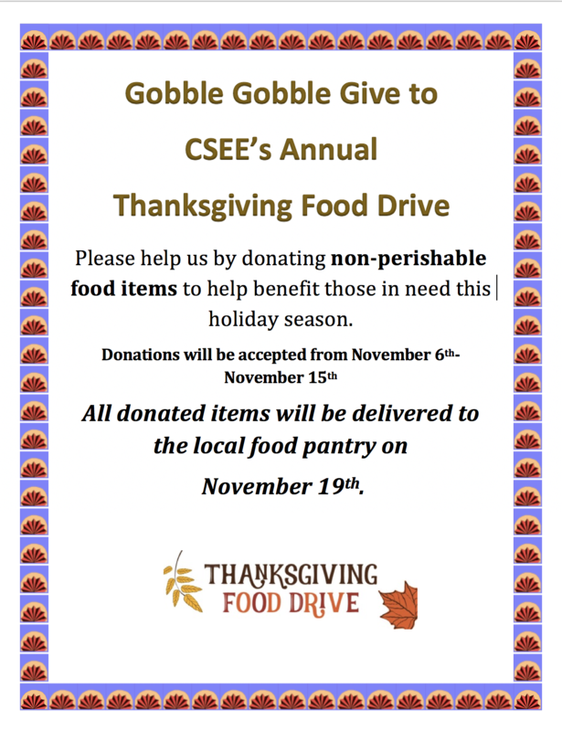 CSEE 2019 Thanksgiving Food Drive Flyer.png