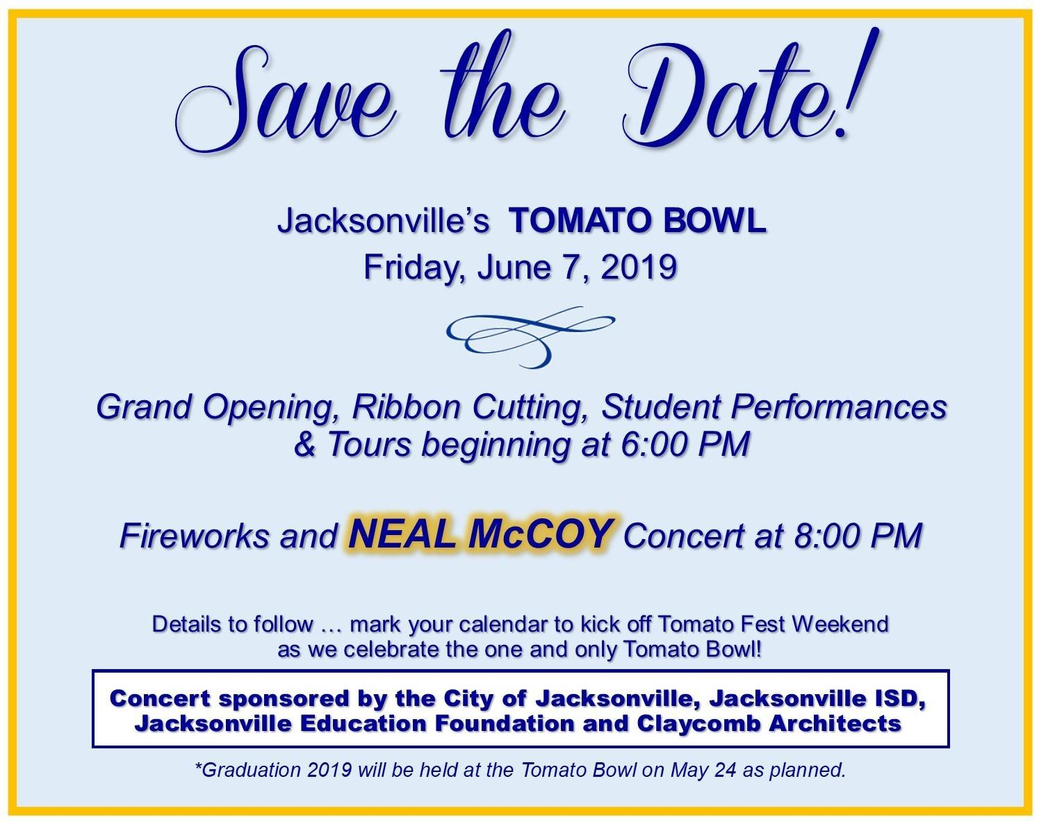 Save the Date card for the Tomato Bowl Grand Opening on June 7