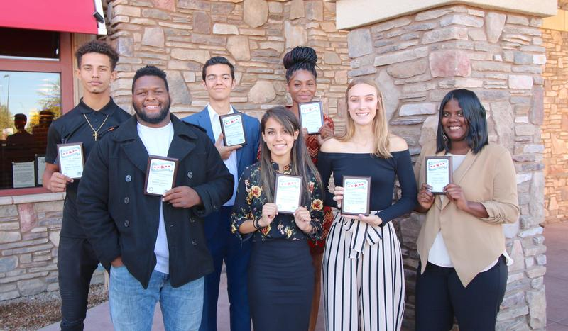Tyrisha Green, Paulina Galindo, Matito Shivers, Daja Ellis, Wayne Thomas, Estaban Garibay Paredes, and Jordan Hubbel standing with their plaques.