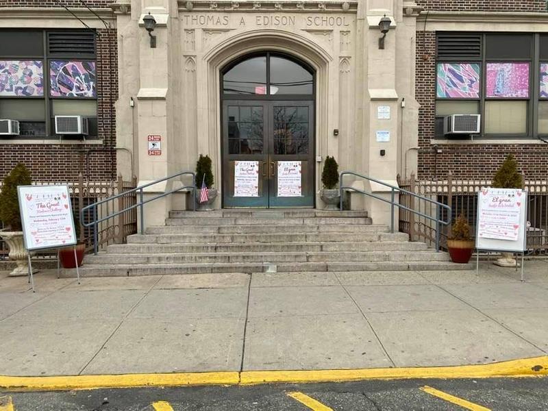 school entryway decorated
