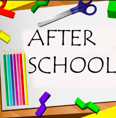 after school is written on a piece of paper with a pair of scissors and a pack of colored pencils around it on a desk