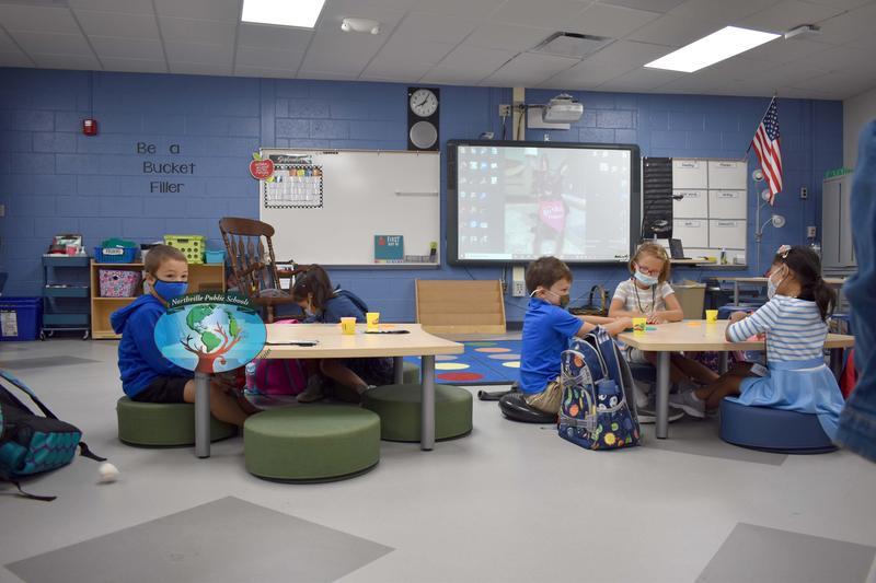 Kindergarten classroom on first day of school