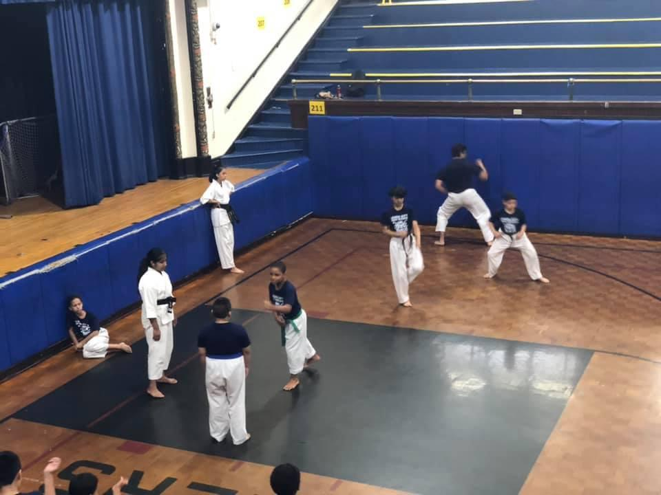 boys and girls in the gymnatorium practicing martial arts