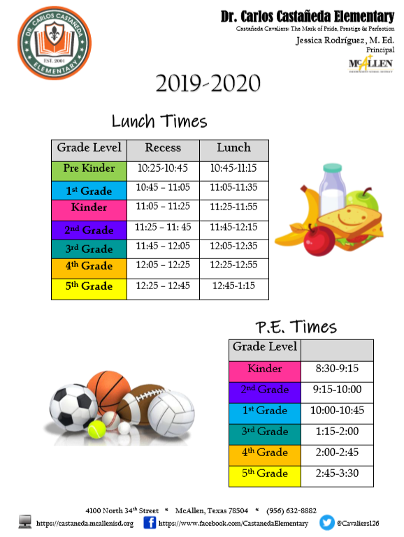lunch and pe times