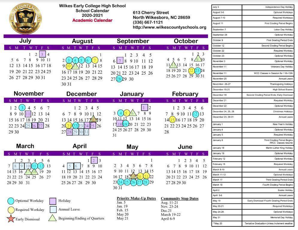 2020-2021 WECHS Board-Approved Regular Academic Calendar