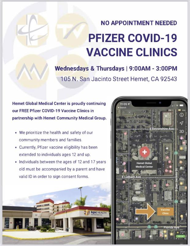 Driving instructions for COVID-19 Vaccine Clinic at Hemet Global Medical Center