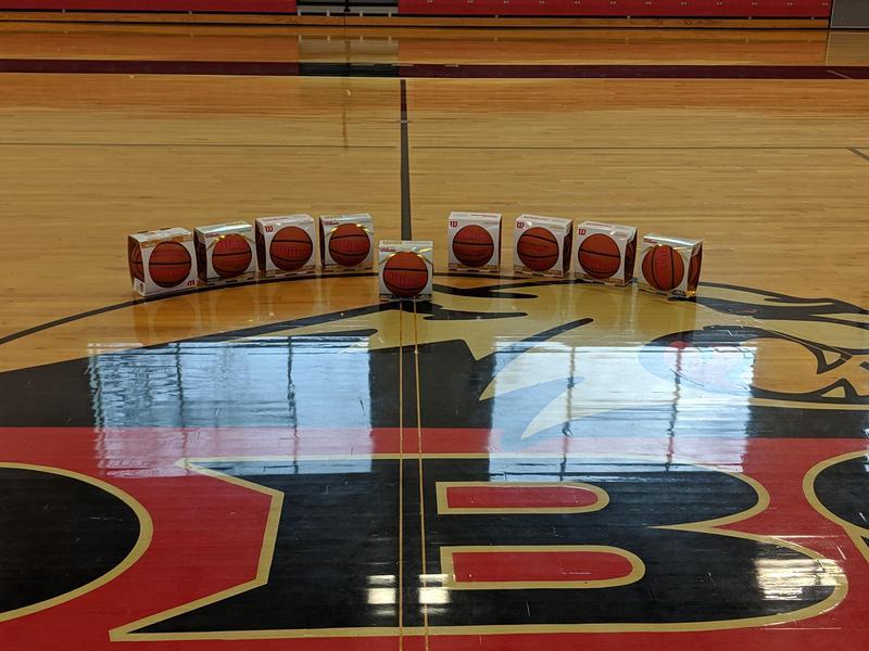 Basketballs around center court