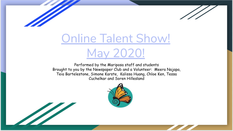 Mariposa Online Talent Show Graphic