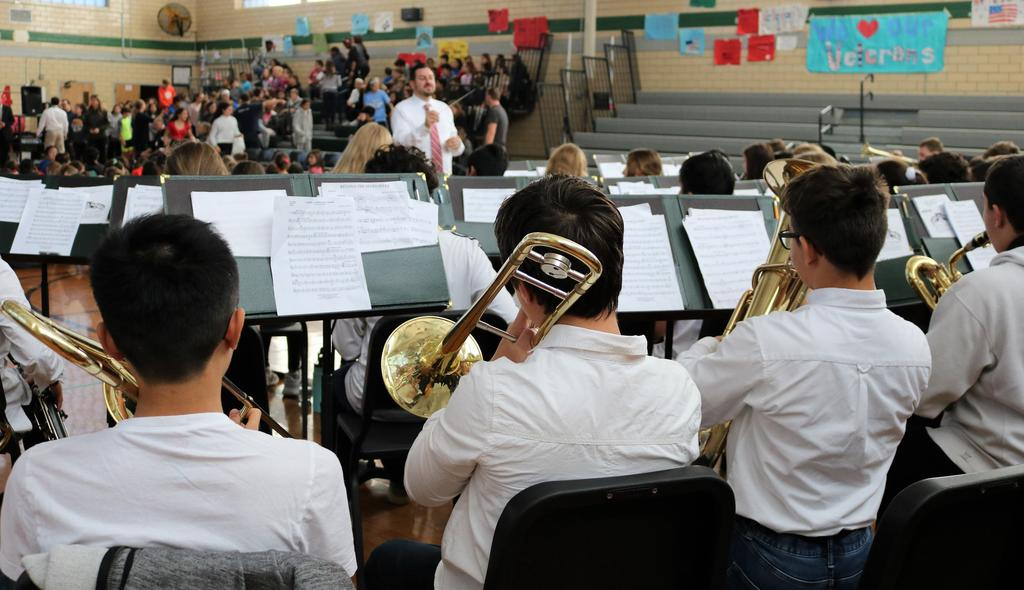 Photo of Edison band playing patriotic songs during Veterans Day assembly.
