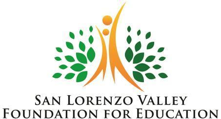 San Lorenzo Valley Foundation for Education logo, gold stylized adult and child within green leaves