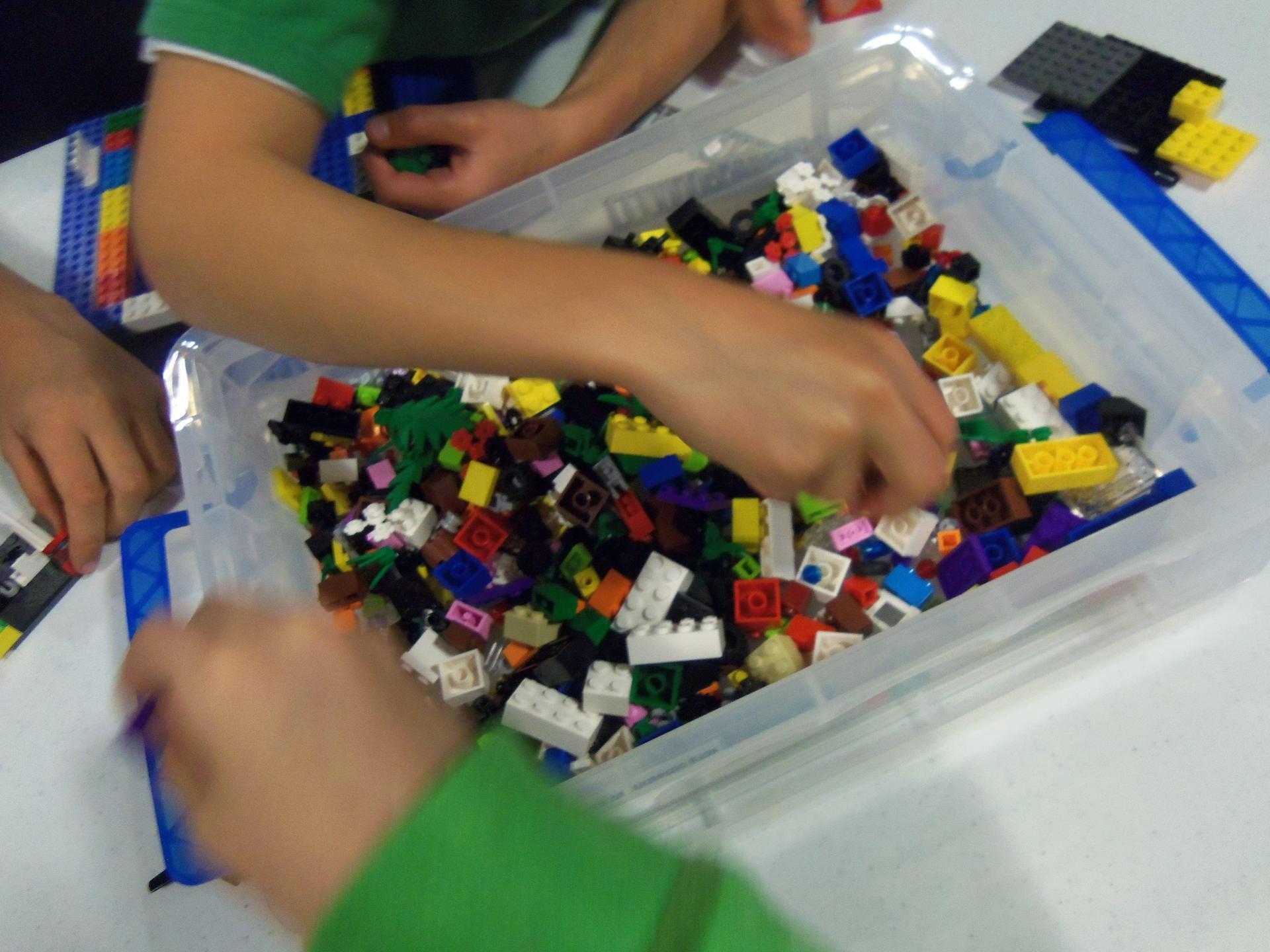 large box of lego bricks