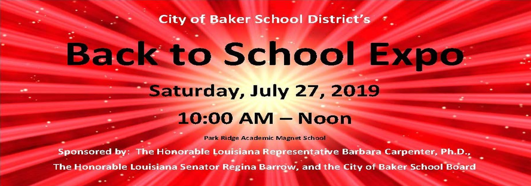 A graphic advertising the 2019 Back-to-school Expo for City of Baker School District