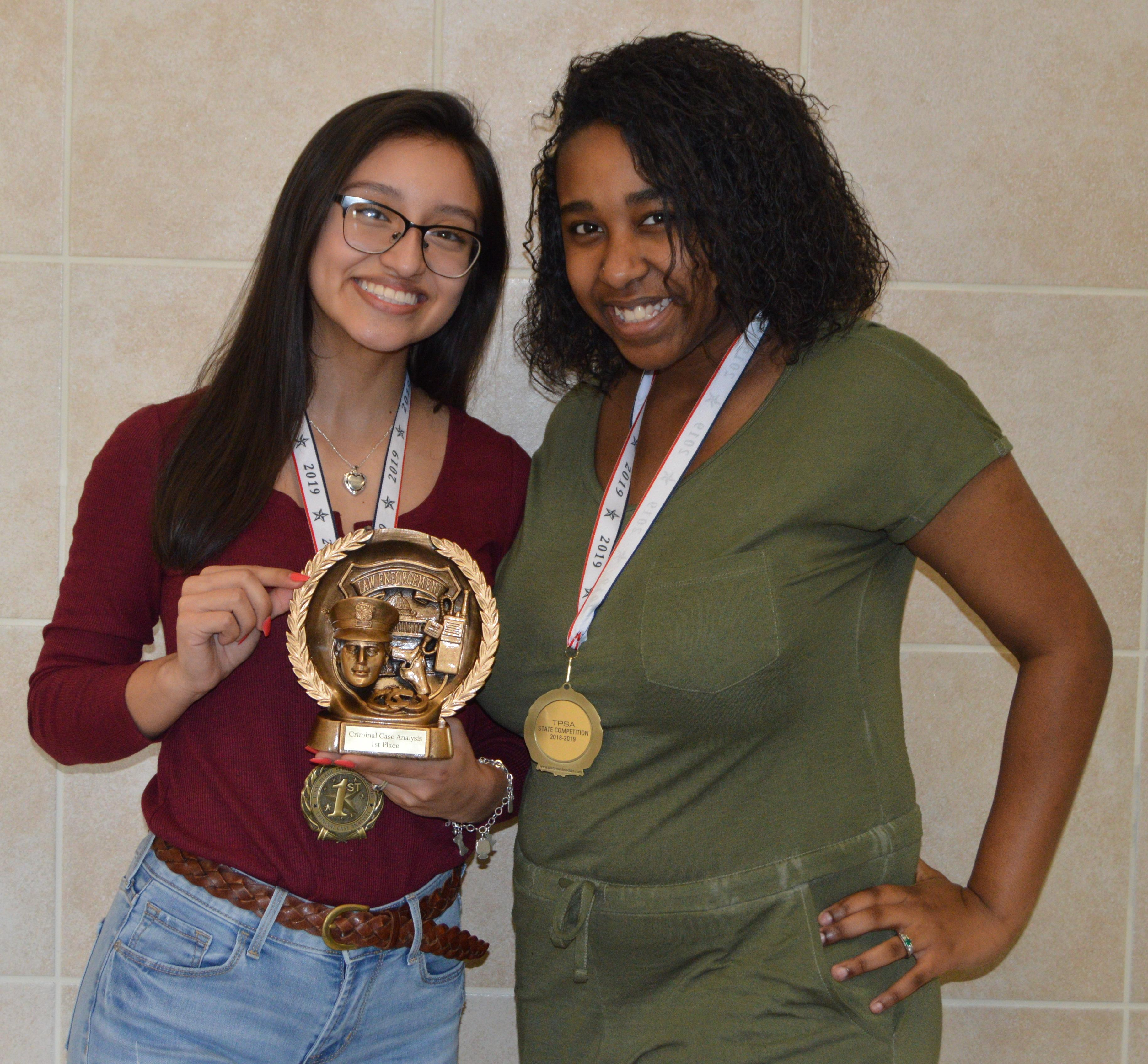 Brewer High School Law Enforcement Club members Alondra Rojas and Zauria Thomas won first place in Criminal Case Analysis and third in 911 Call respectively during the Texas Public Safety Association State Competition.
