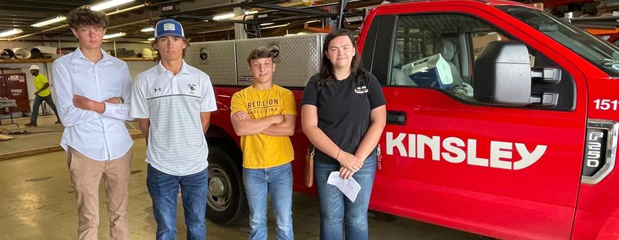 Construction Pre-Apprenticeship Kickoff at Kinsley. From Left to Right: Matthew Myers, Griffin Myers, Dalton Boyer and Isabelle Dinger.