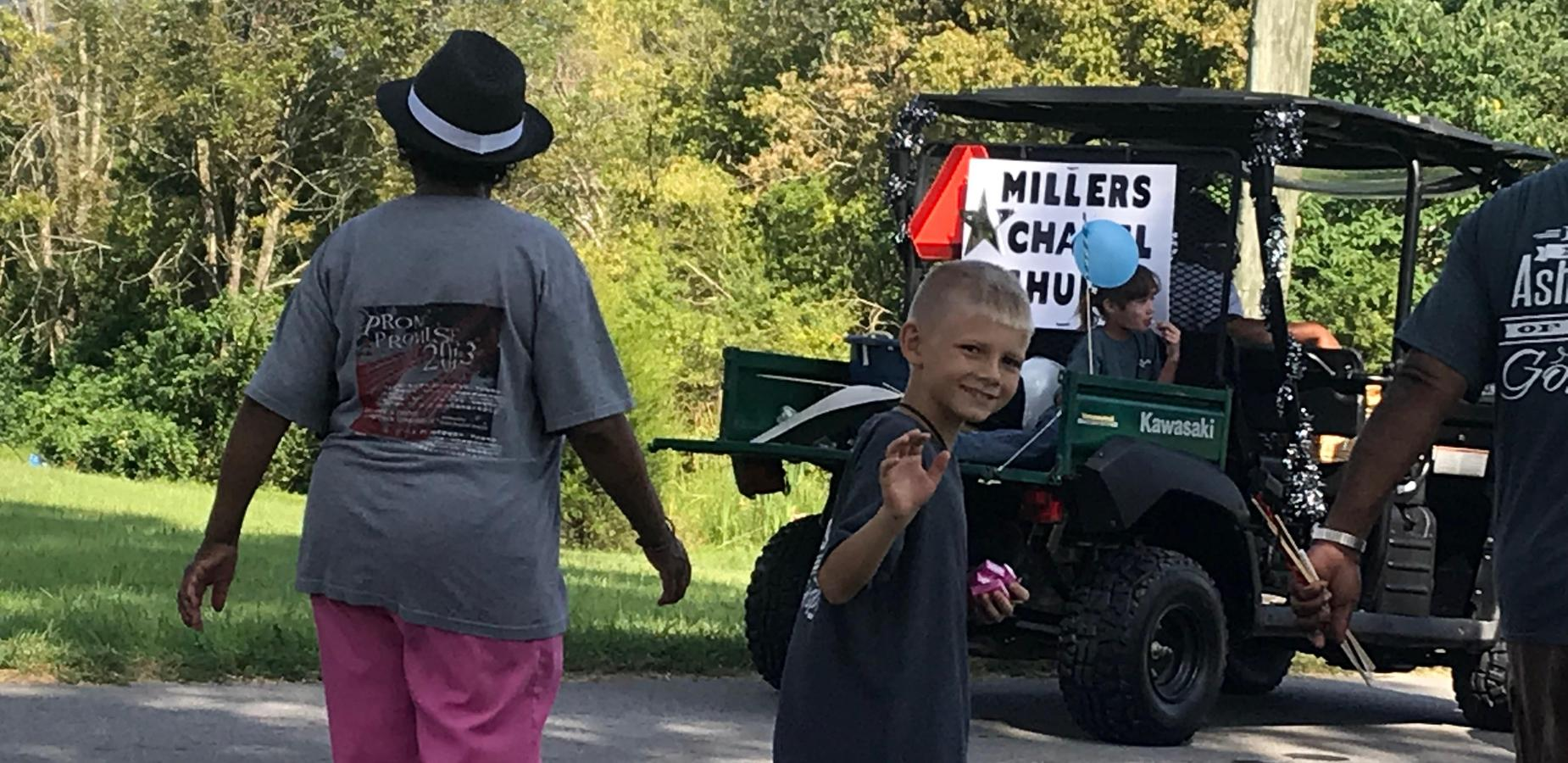 Parade walk with Millers Chapel Church.