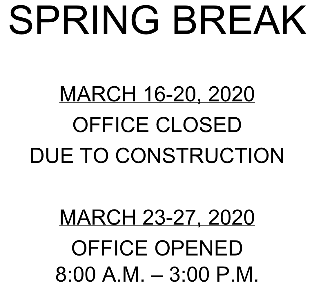 Spring Break Office Hours
