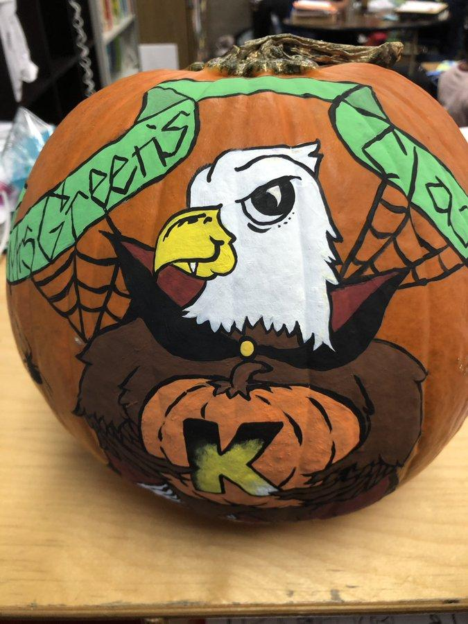 Awesome pumpkin created by Mrs. Green's student and his talented mom.  #proud2bepusd