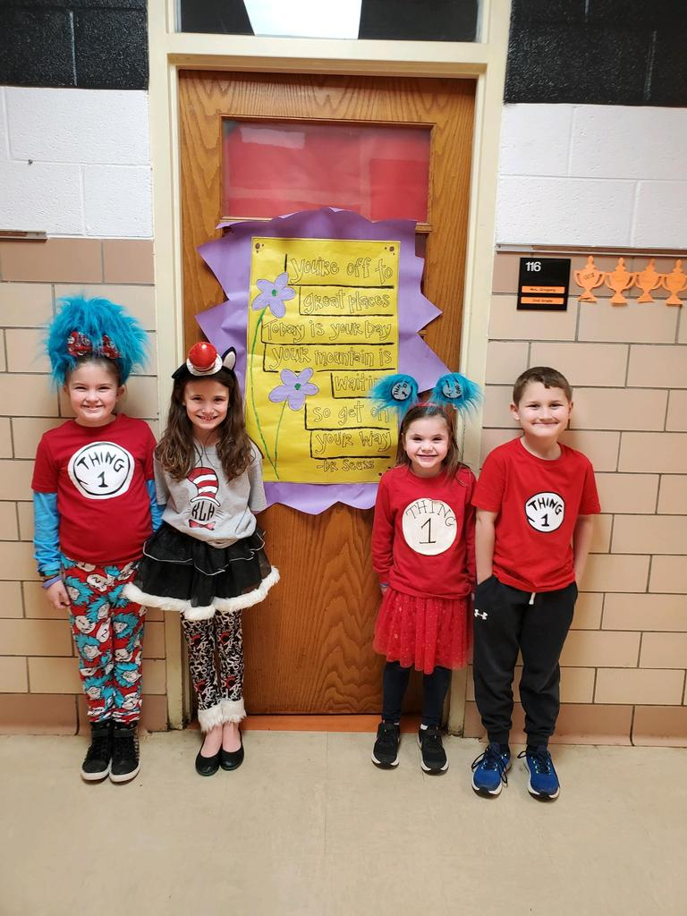Students dressed for Dr. Seuss day