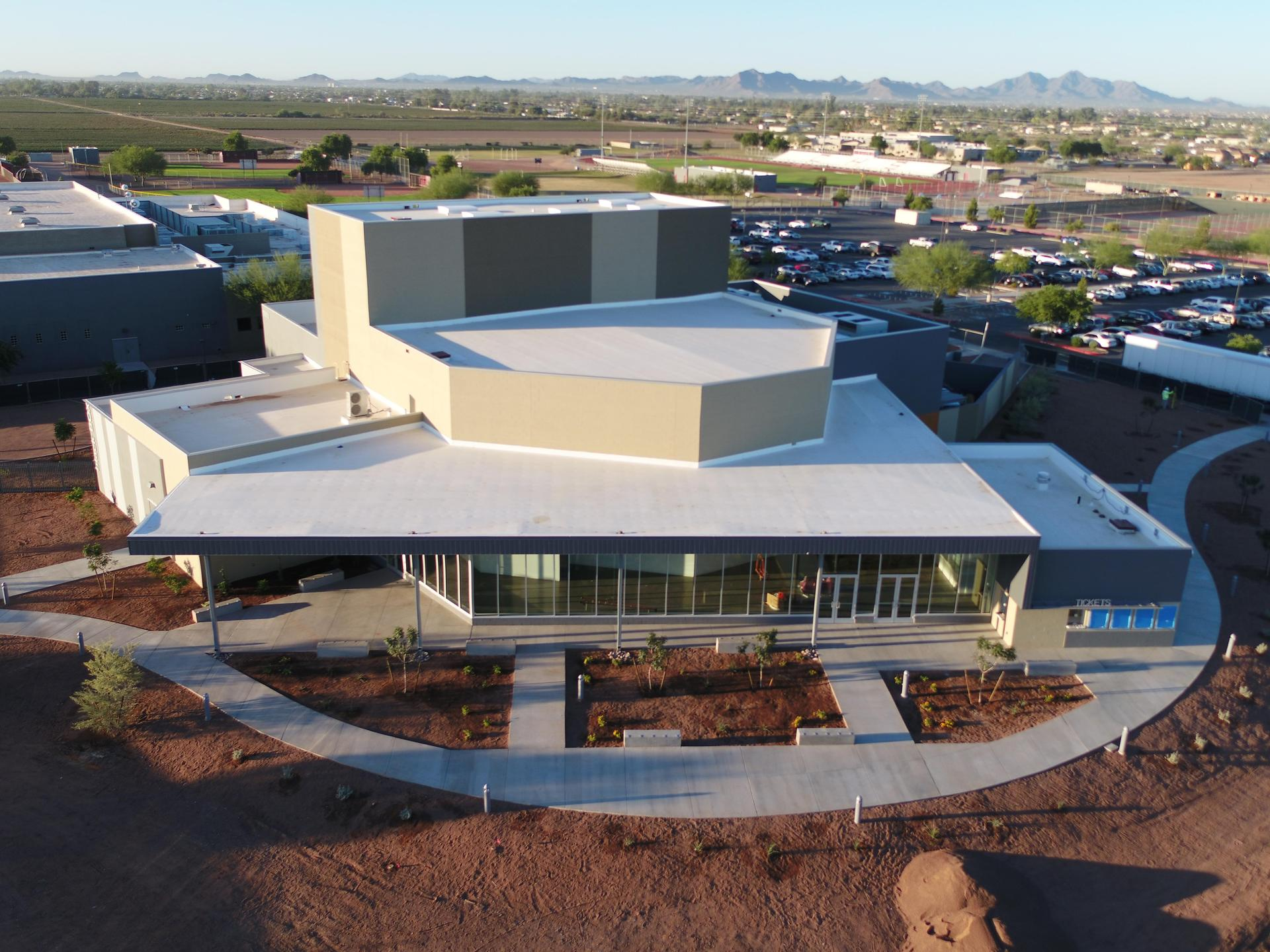 Combs Performing Arts Center aerial view