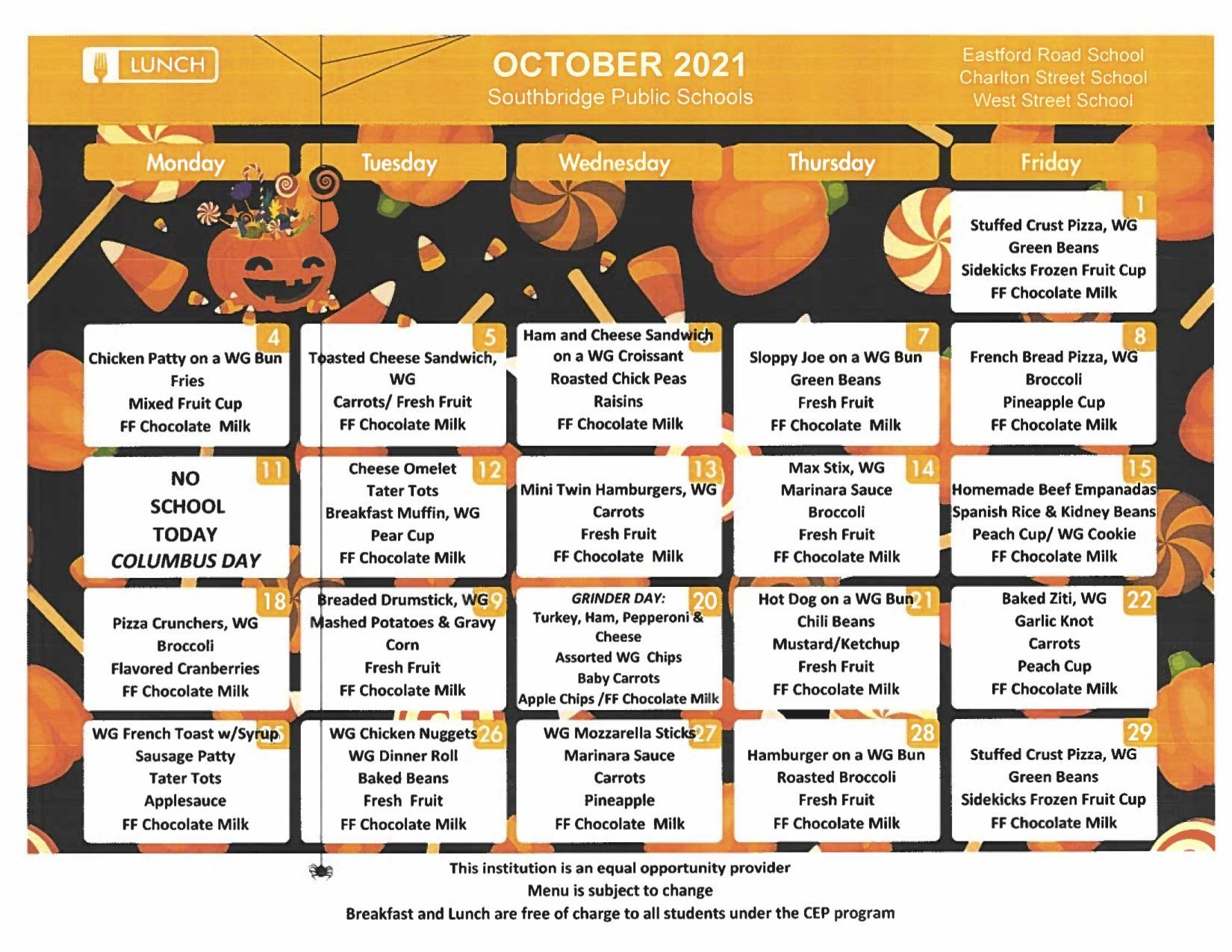 October 2021 Elementary Schools menu - also available for download on this page