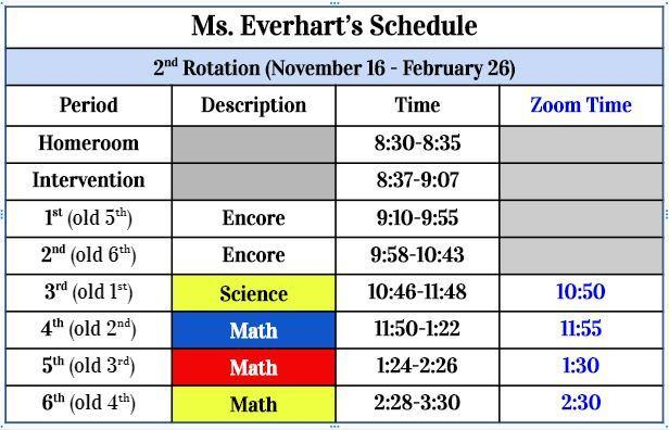 second rotation schedule