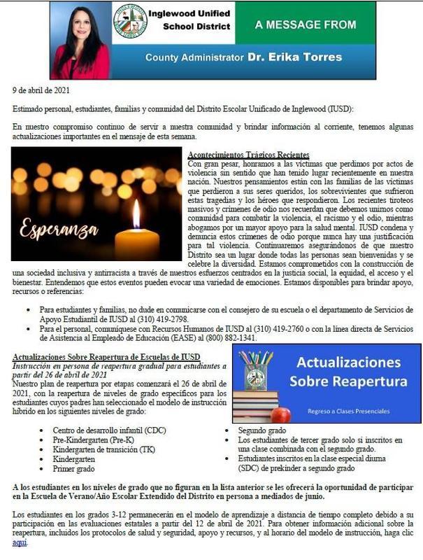 Comunicación a Padres, Familias, y Comunidad de IUSD - 4-9-2021 Featured Photo