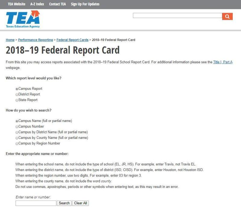 Federal Report Card 2018-2019 Thumbnail Image