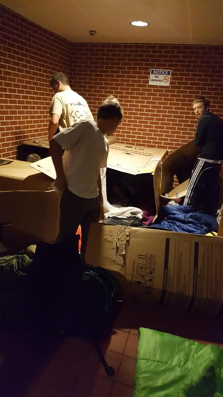 Students at the OLSH Box Out prepare to sleep outside