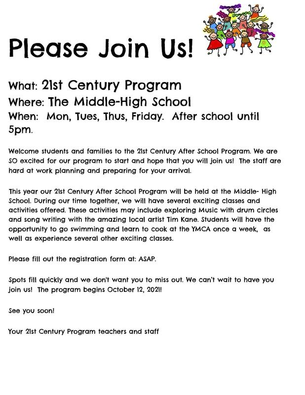 Flyer in English for the 21st Century After School Program at Southbridge Middle High School. All wording is also in the body of the post.