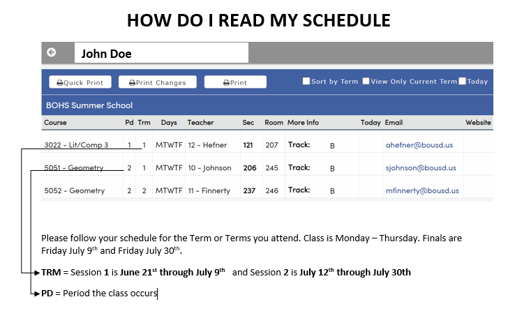image of a schedule