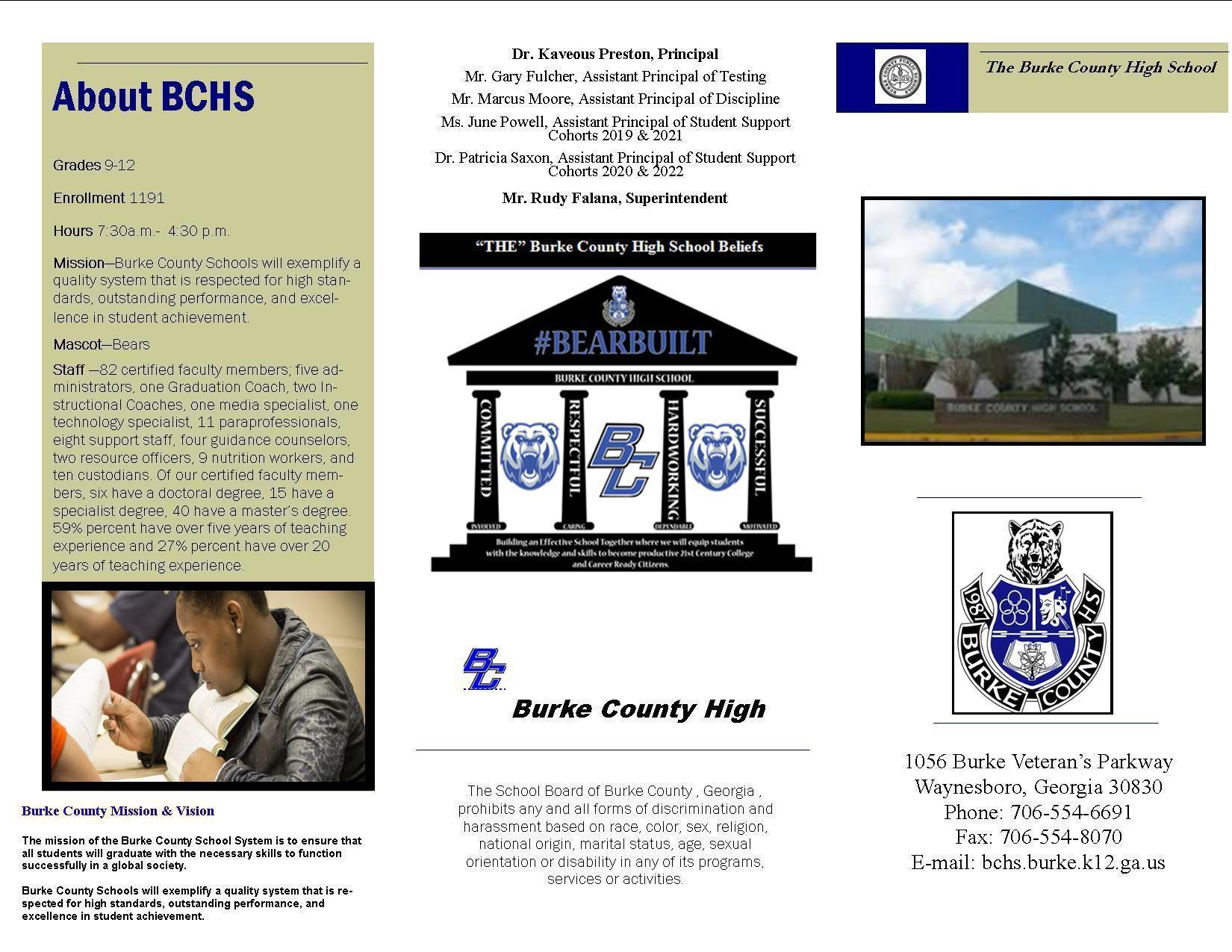 Pamphlet for BCHS Side 1