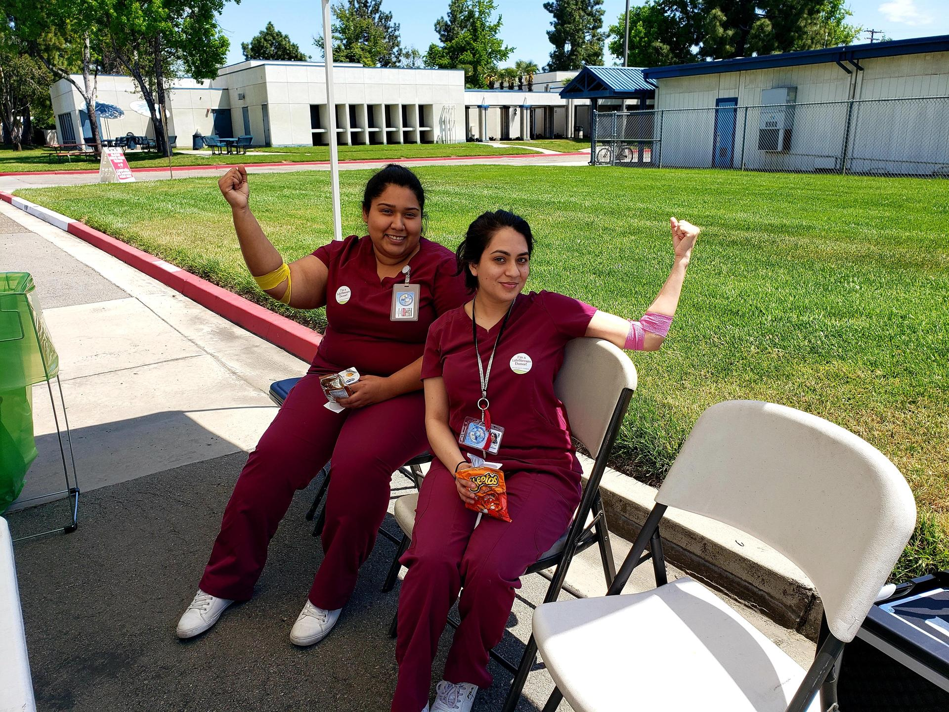 Medical Assistant program volunteering at blood drive.