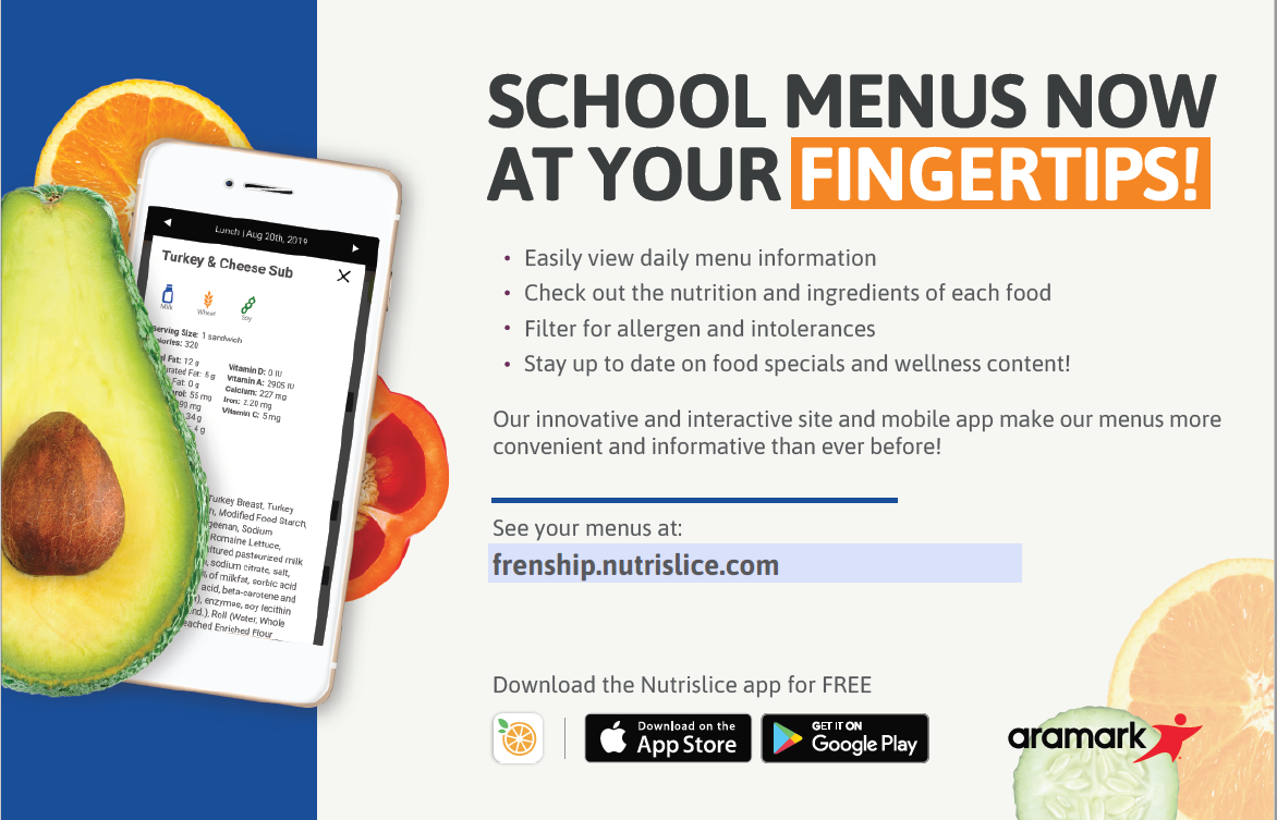 Nutrislice app allows you to check the nutrition and ingredients of each food in your child's lunch