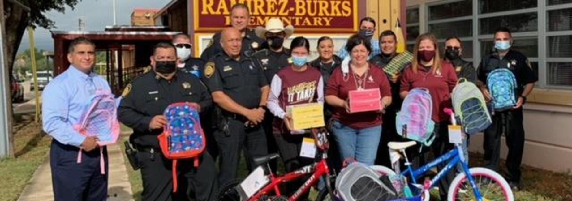 Backpack and Bike Donation People: Superintendent, Captain Mirelez, Deputy Macias, SRO Gonzales, Chief Romo, Sheriff Zertuche, Amanda Carbajal, Inv. Sobrevilla, Cpl. Avila, Mary Jean, Deputy Gamino