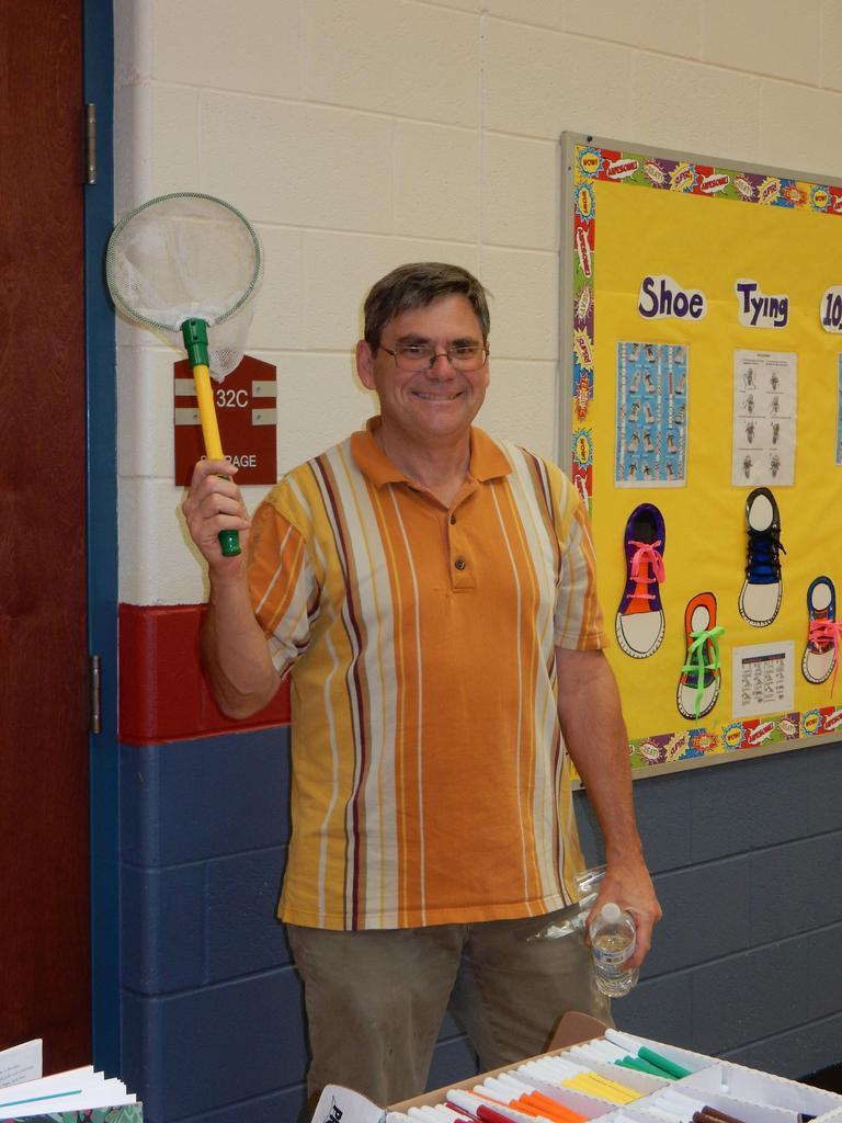 Mr. Merz holding butterfly net