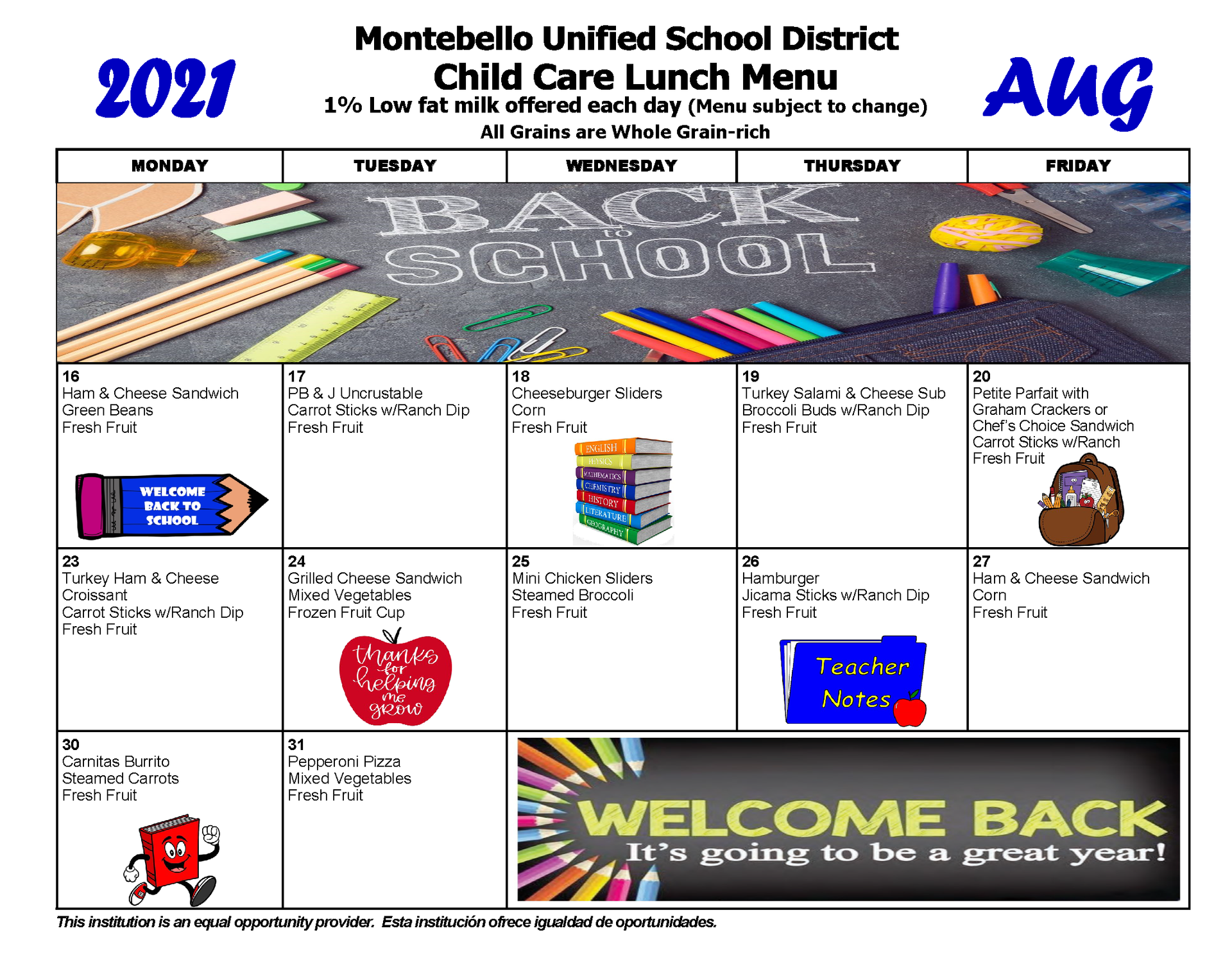 August Child Care Lunch Menu