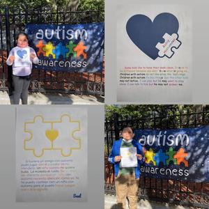 Autism sign and assignments collage