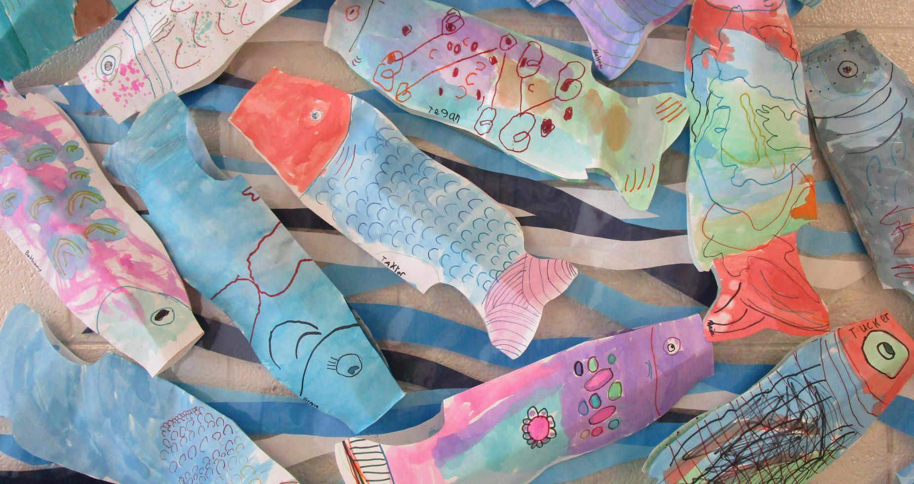 fish kites created by 2nd graders