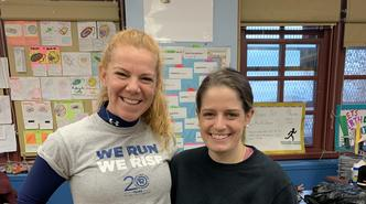 Ms. Carr and Ms. Feldman ready to run with the running club