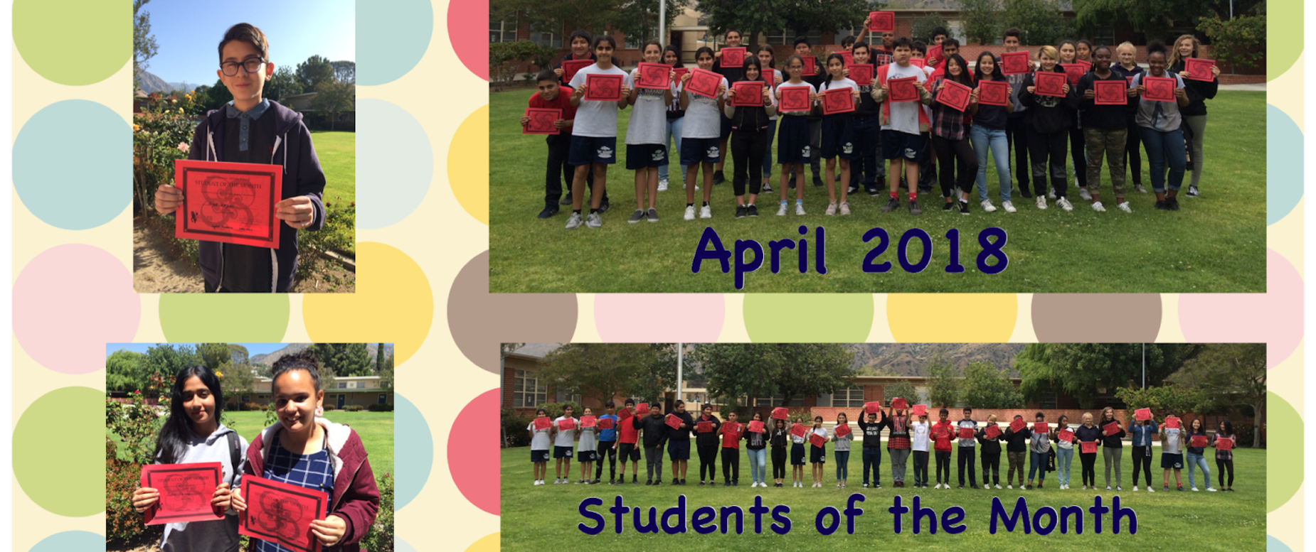 Students of the Month for May 2018