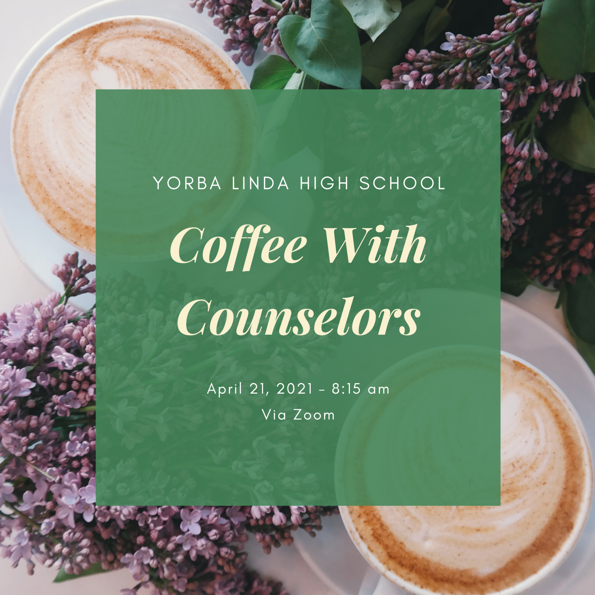 Coffee with Counselors - April 2021