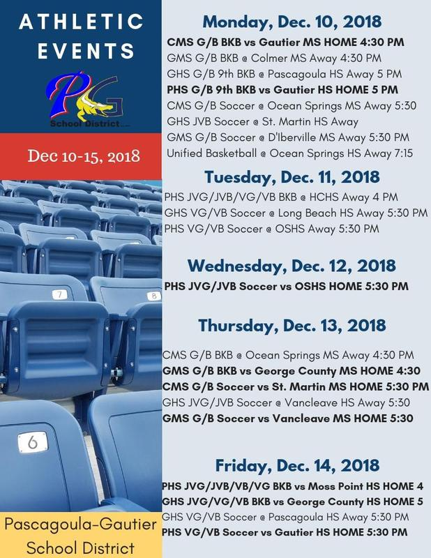 Athletic Events for Week of December 10-15, 2018