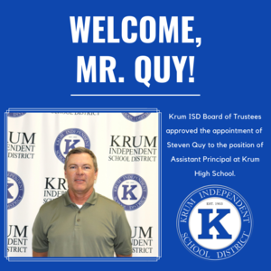 blue graphic shows photo of steven quy with text reading welcome mr quy
