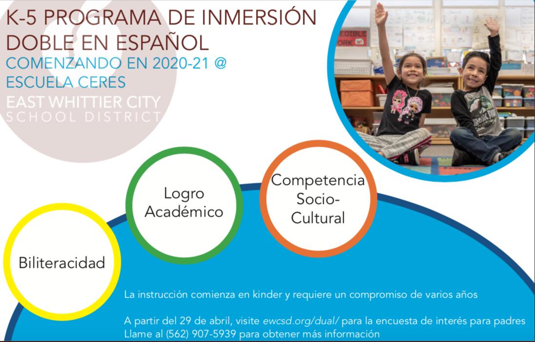 Un programa de Inmersion Doble en Espanol vendra en 2020-21!
