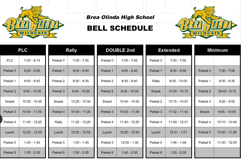 Special Bell Schedules--Rally, Minimum Day