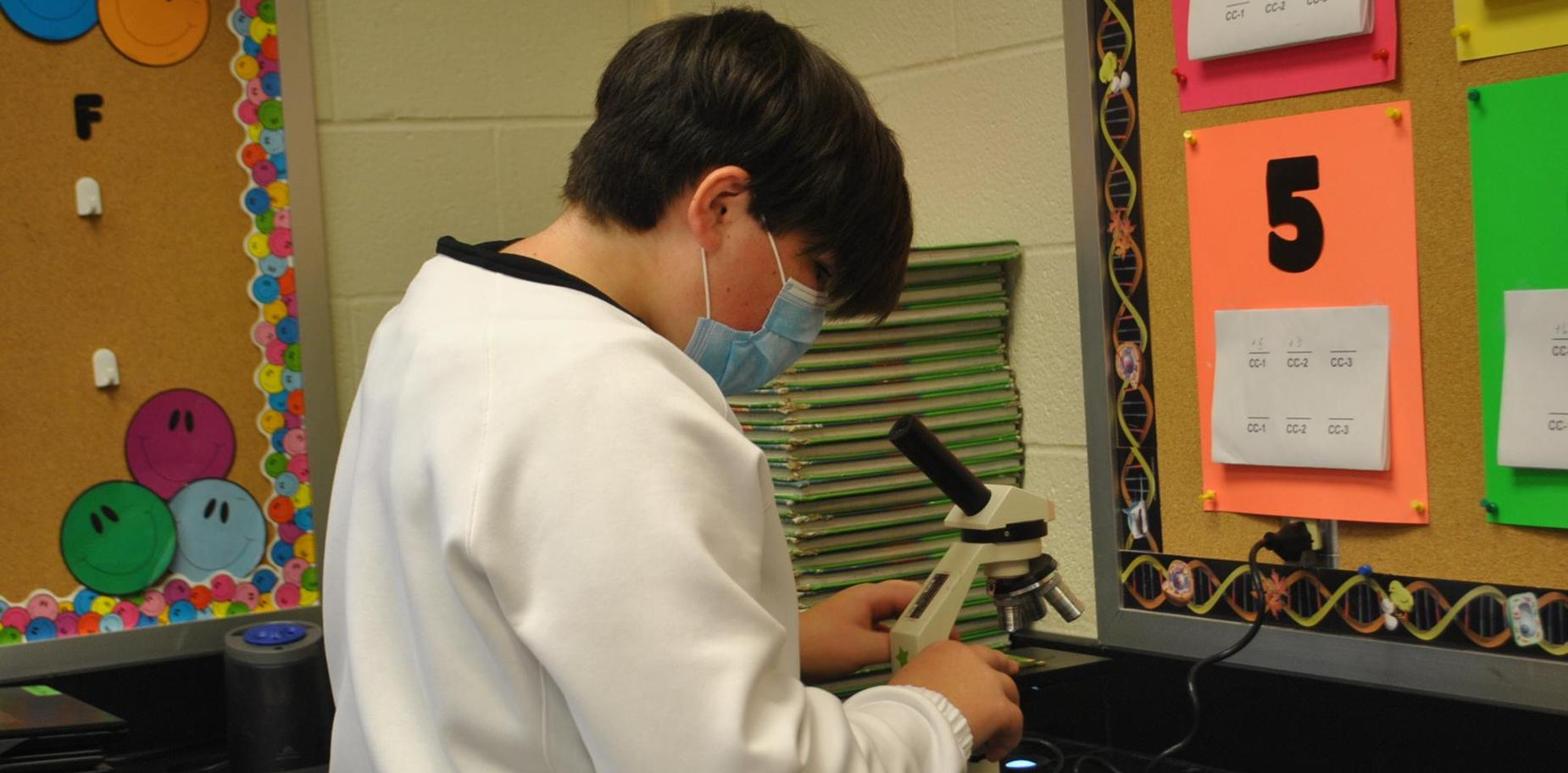 Student working on a lab
