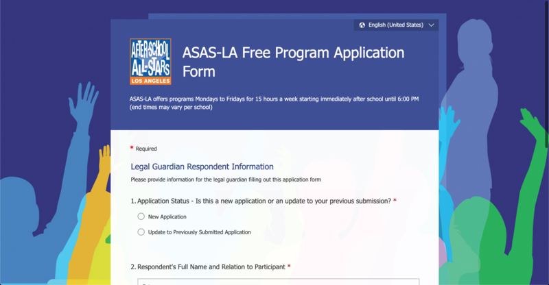 After School All Stars LA Free Program Application Form Thumbnail Image